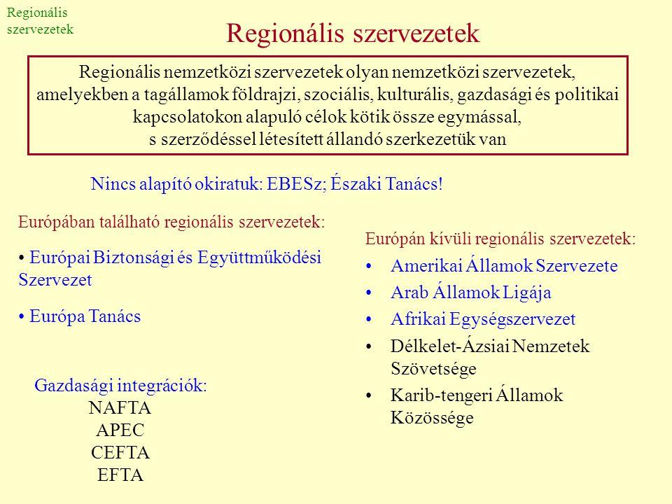 Regionális szervezetek