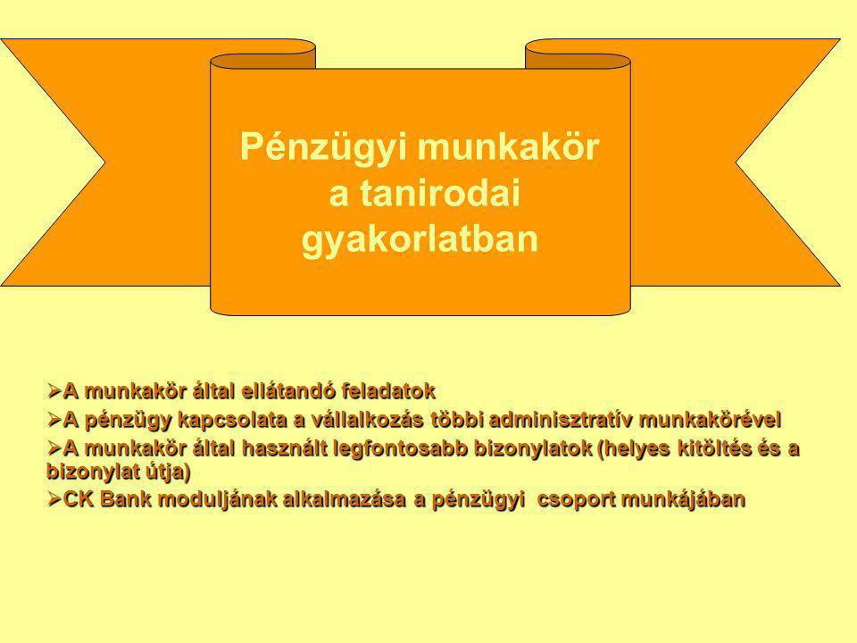 Pénzügyi munkakör a tanirodai gyakorlatban
