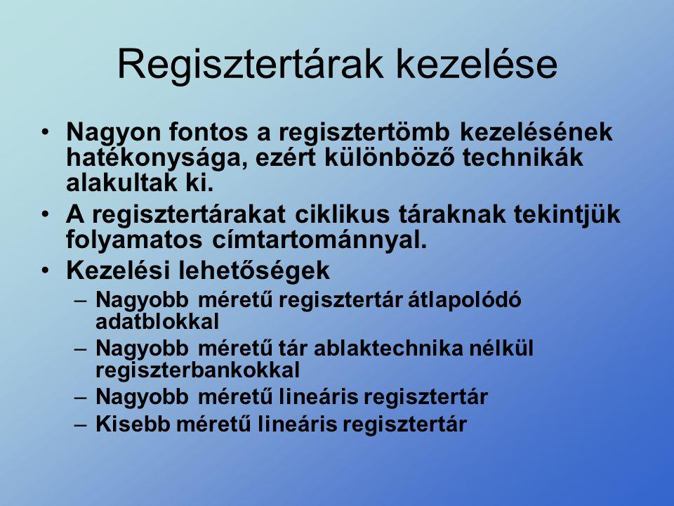 Regisztertárak kezelése