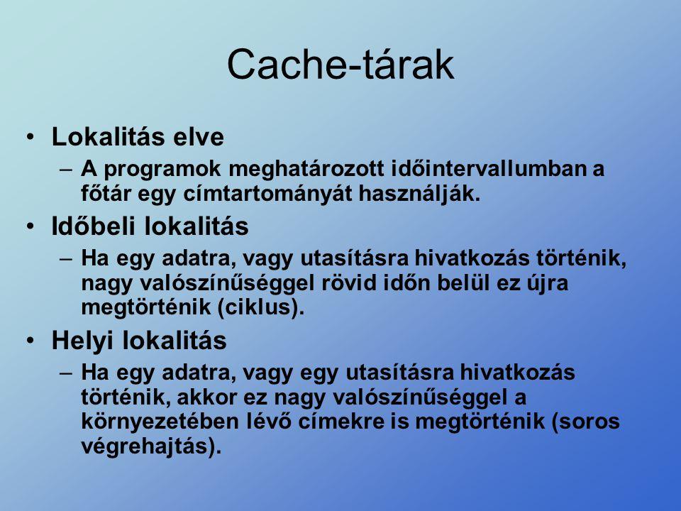 Cache-tárak Lokalitás elve Időbeli lokalitás Helyi lokalitás