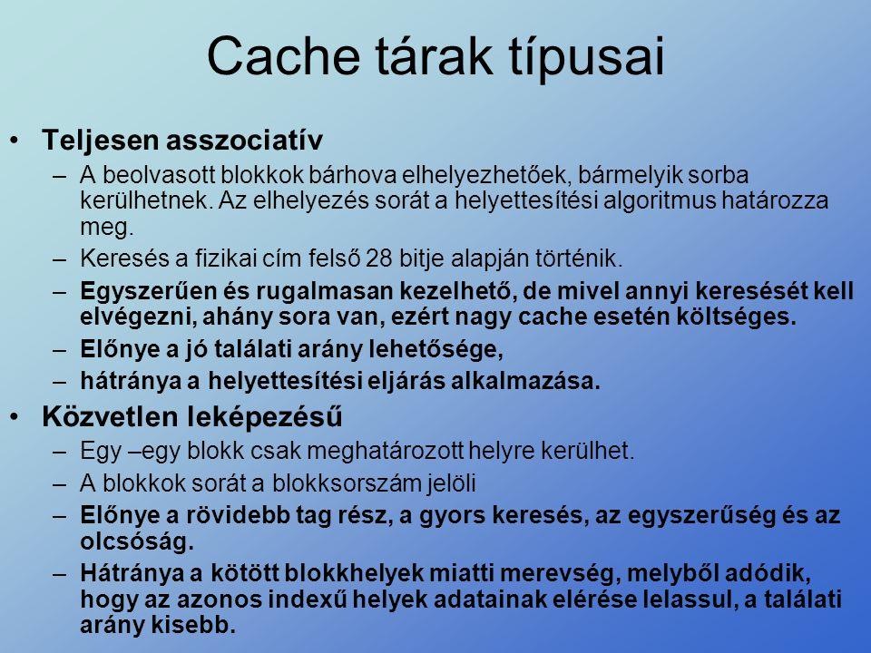 Cache tárak típusai Teljesen asszociatív Közvetlen leképezésű