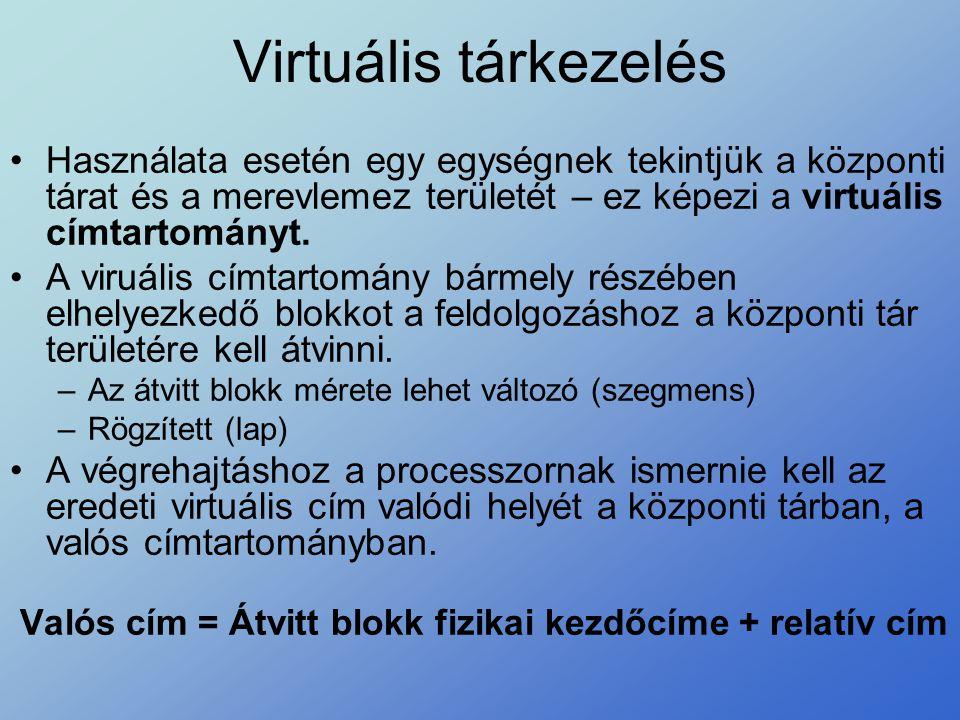 Virtuális tárkezelés Használata esetén egy egységnek tekintjük a központi tárat és a merevlemez területét – ez képezi a virtuális címtartományt.