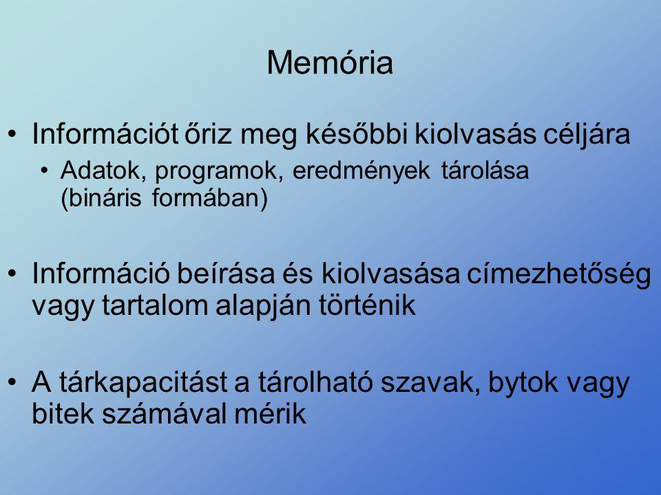 Memória Információt őriz meg későbbi kiolvasás céljára