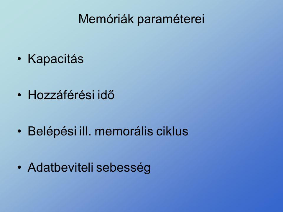 Memóriák paraméterei Kapacitás Hozzáférési idő Belépési ill. memorális ciklus Adatbeviteli sebesség