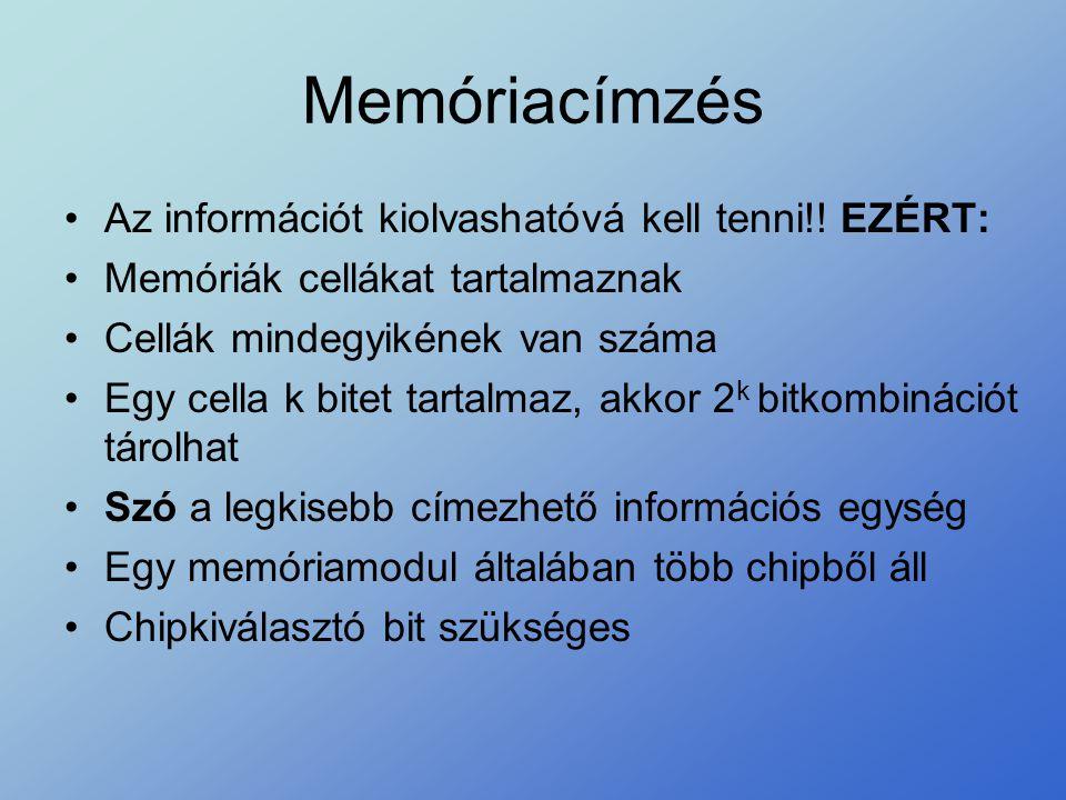 Memóriacímzés Az információt kiolvashatóvá kell tenni!! EZÉRT: