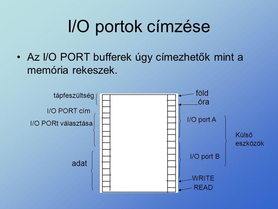 I/O portok címzése Az I/O PORT bufferek úgy címezhetők mint a memória rekeszek. föld. tápfeszültség.