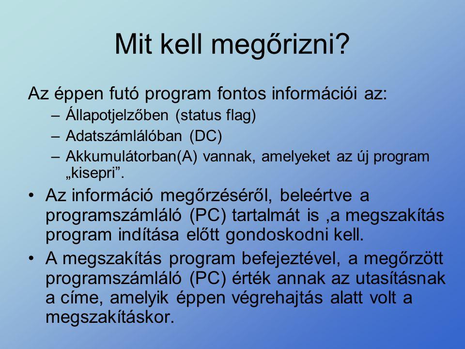 Mit kell megőrizni Az éppen futó program fontos információi az: