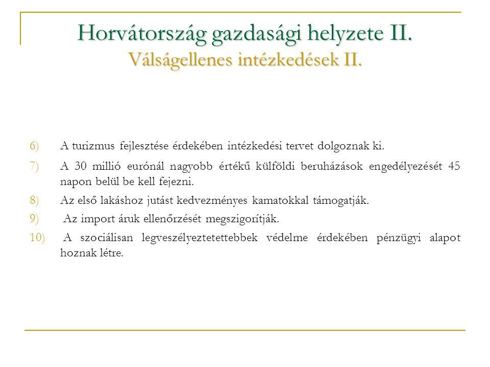 Horvátország gazdasági helyzete II. Válságellenes intézkedések II.