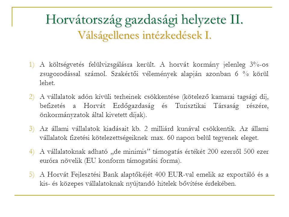 Horvátország gazdasági helyzete II. Válságellenes intézkedések I.