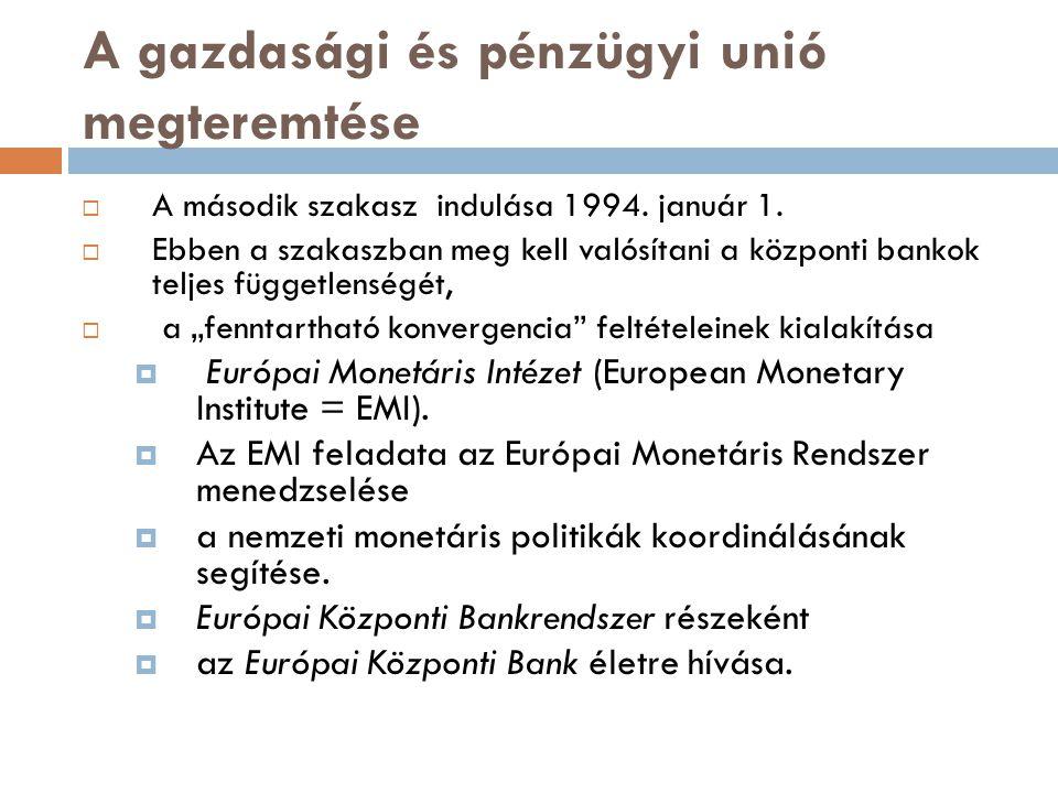 A gazdasági és pénzügyi unió megteremtése