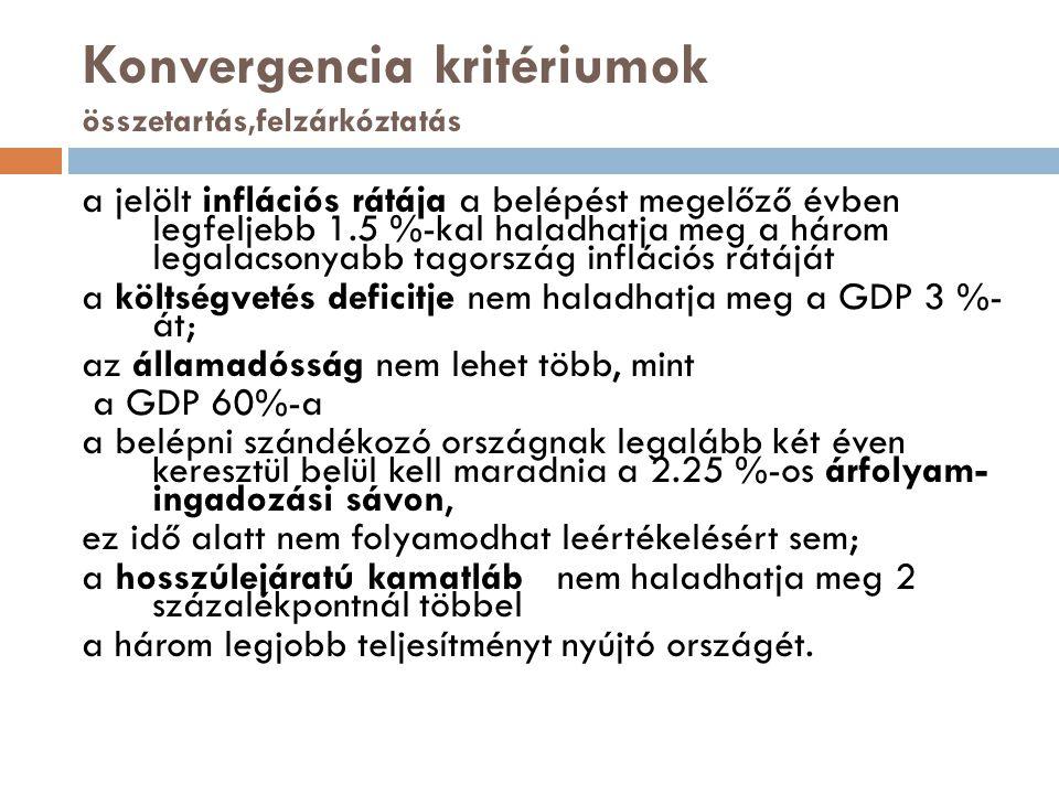 Konvergencia kritériumok összetartás,felzárkóztatás
