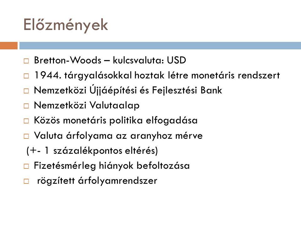 Előzmények Bretton-Woods – kulcsvaluta: USD