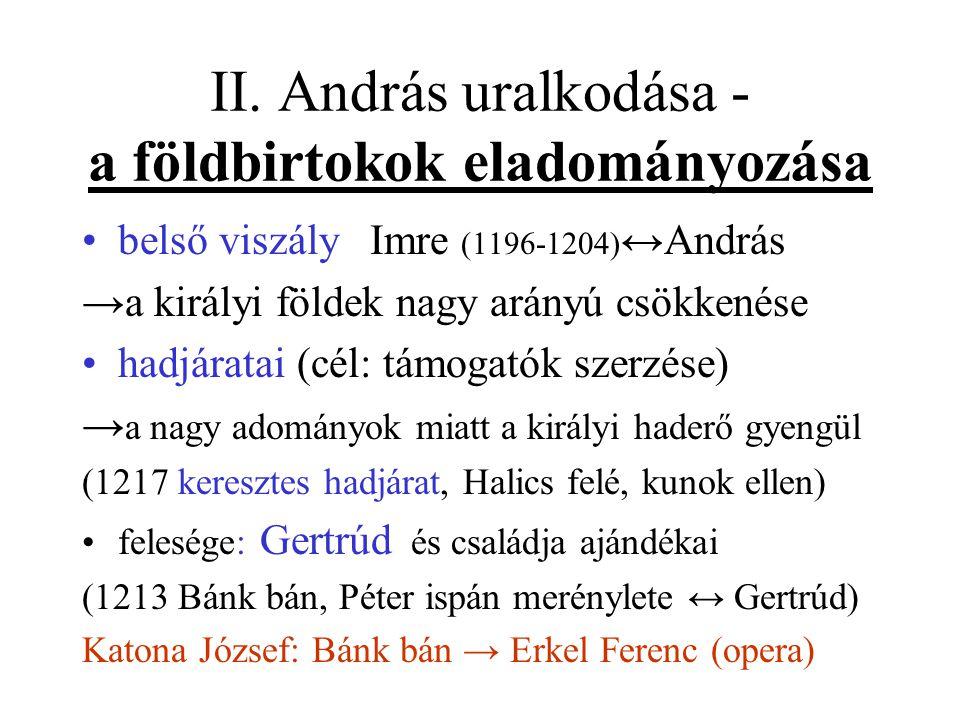 II. András uralkodása - a földbirtokok eladományozása