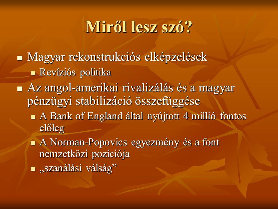 Miről lesz szó Magyar rekonstrukciós elképzelések