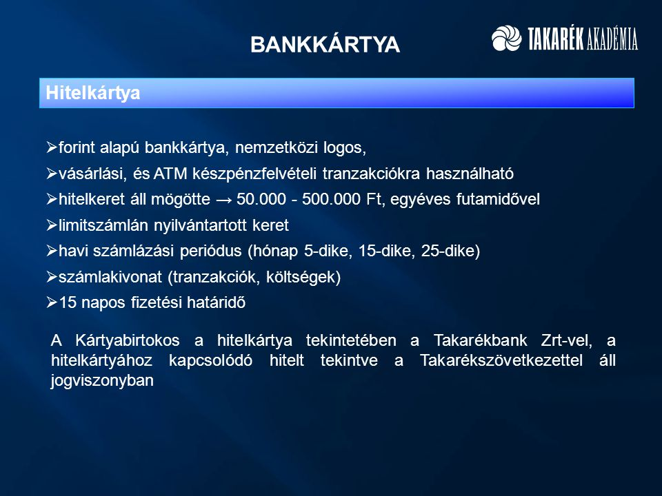 BANKKÁRTYA Hitelkártya forint alapú bankkártya, nemzetközi logos,