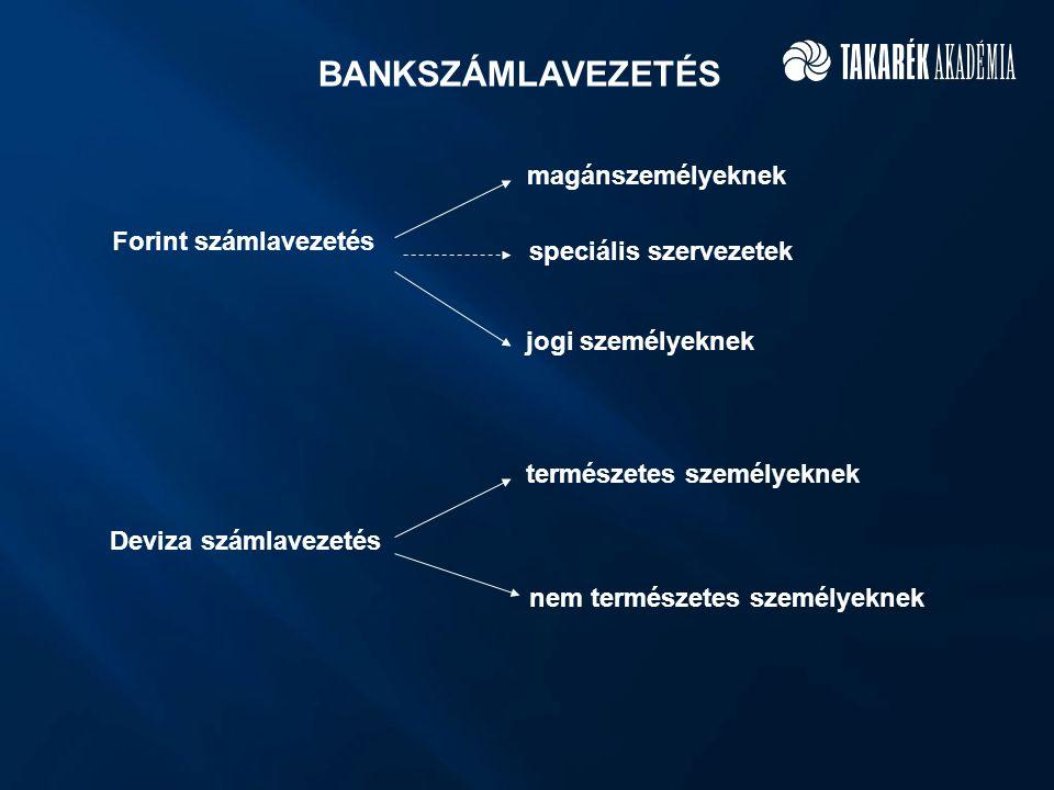 BANKSZÁMLAVEZETÉS magánszemélyeknek Forint számlavezetés
