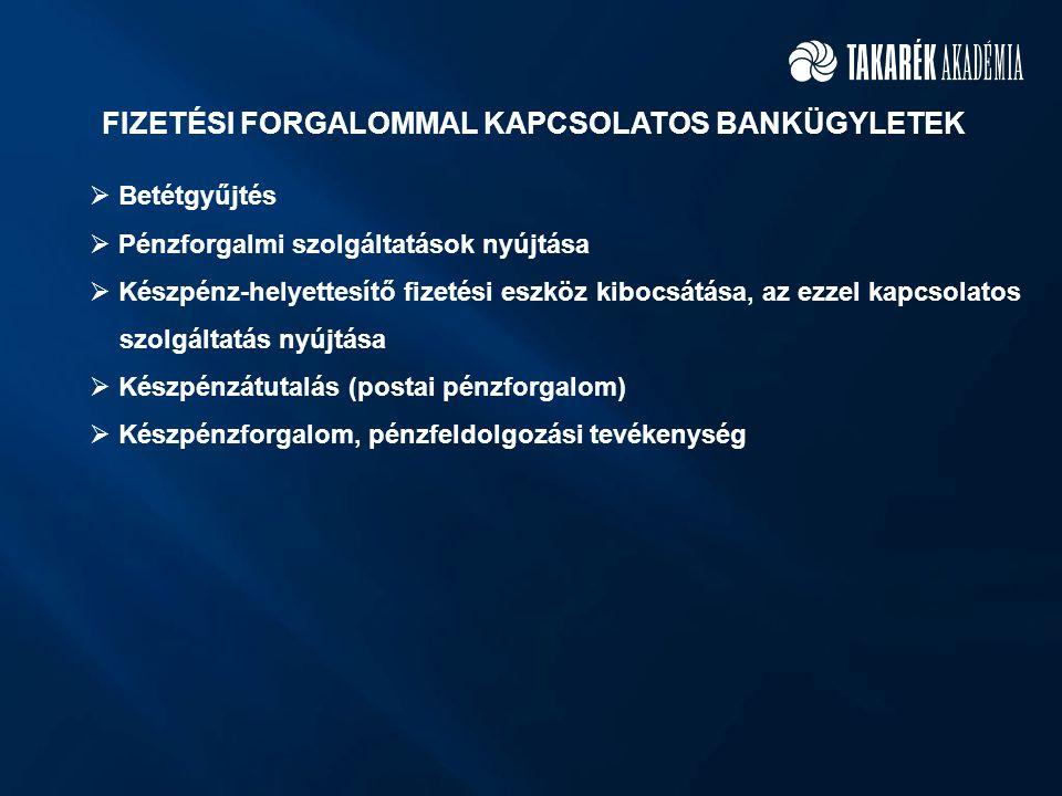 FIZETÉSI FORGALOMMAL KAPCSOLATOS BANKÜGYLETEK