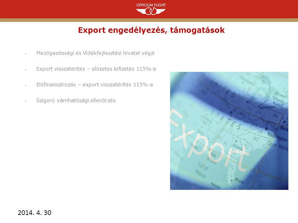 Export engedélyezés, támogatások