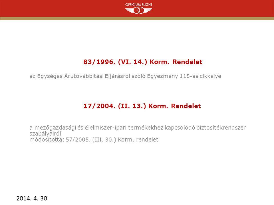83/1996. (VI. 14.) Korm. Rendelet 17/2004. (II. 13.) Korm. Rendelet