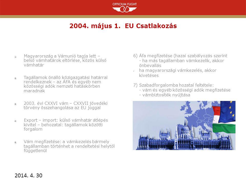 2004. május 1. EU Csatlakozás Magyarország a Vámunió tagja lett – belső vámhatárok eltörlése, közös külső vámhatár.