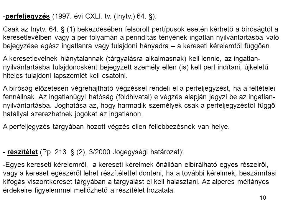 perfeljegyzés (1997. évi CXLI. tv. (Inytv.) 64. §):