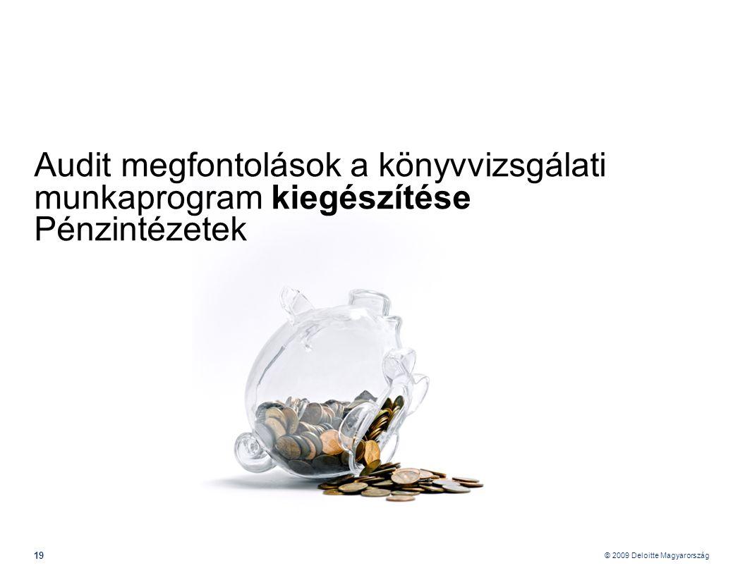 Audit megfontolások a könyvvizsgálati munkaprogram kiegészítése Pénzintézetek