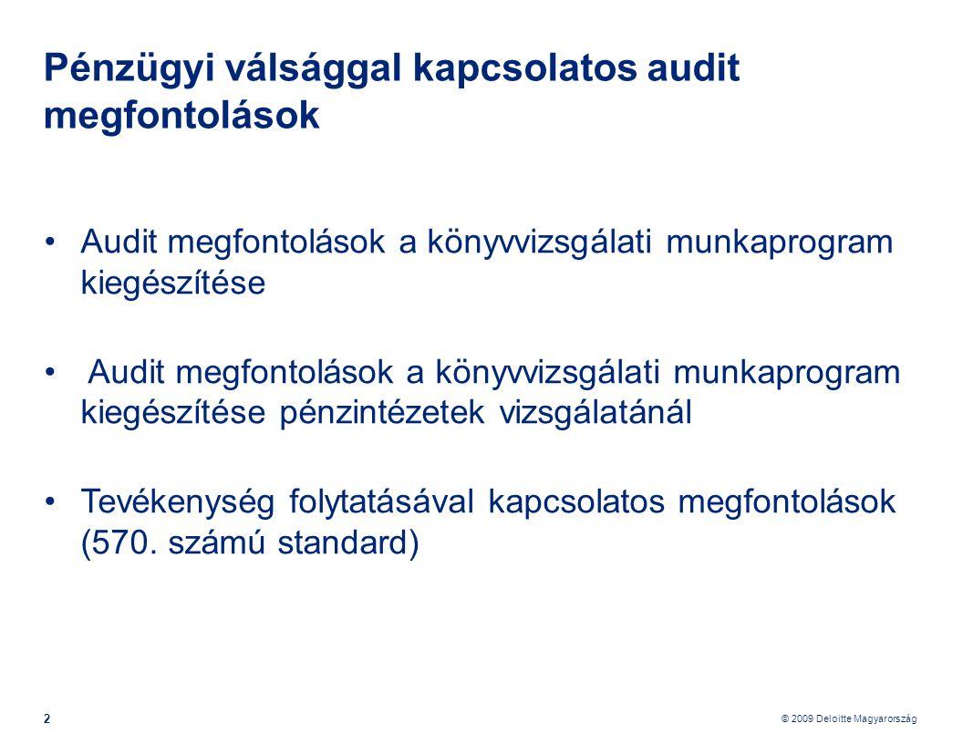 Pénzügyi válsággal kapcsolatos audit megfontolások