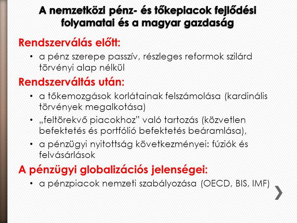 A pénzügyi globalizációs jelenségei: