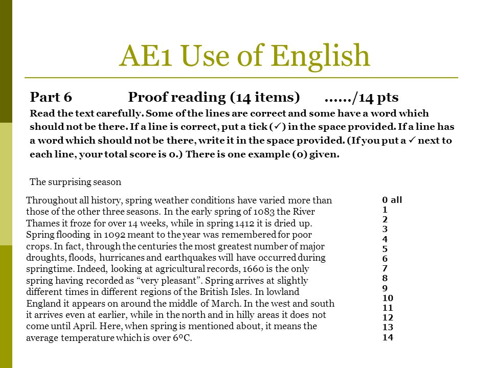 AE1 Use of English Part 6 Proof reading (14 items) ....../14 pts