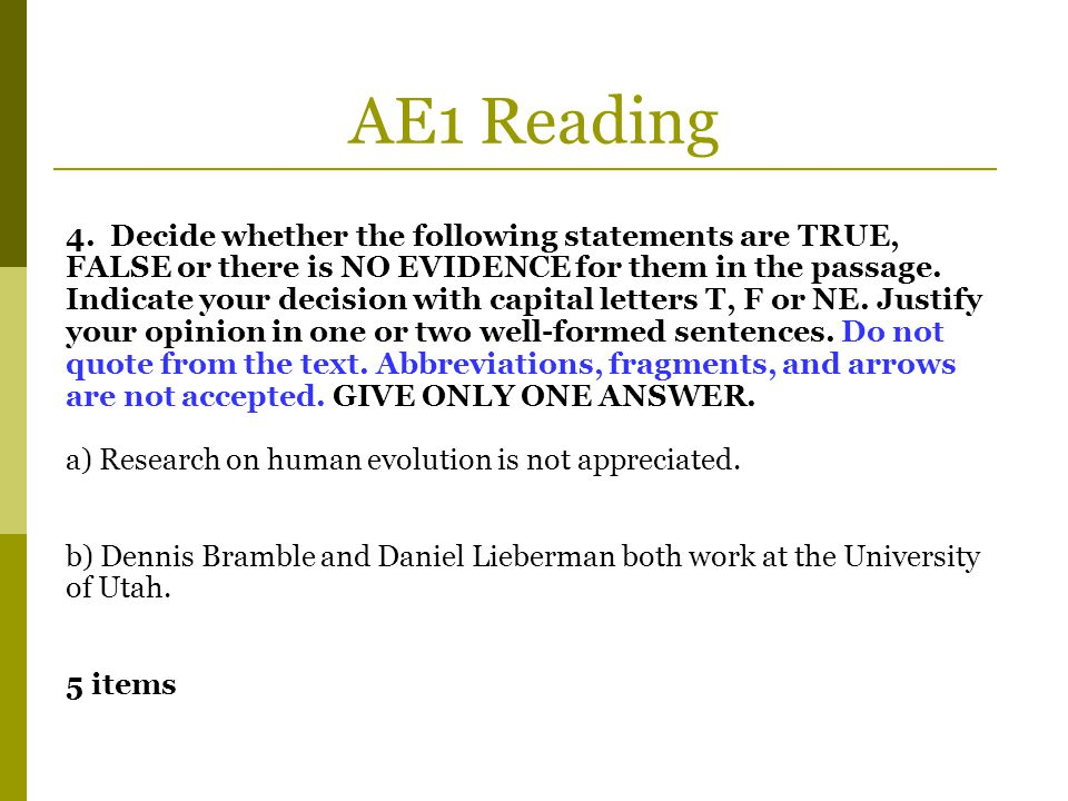 AE1 Reading