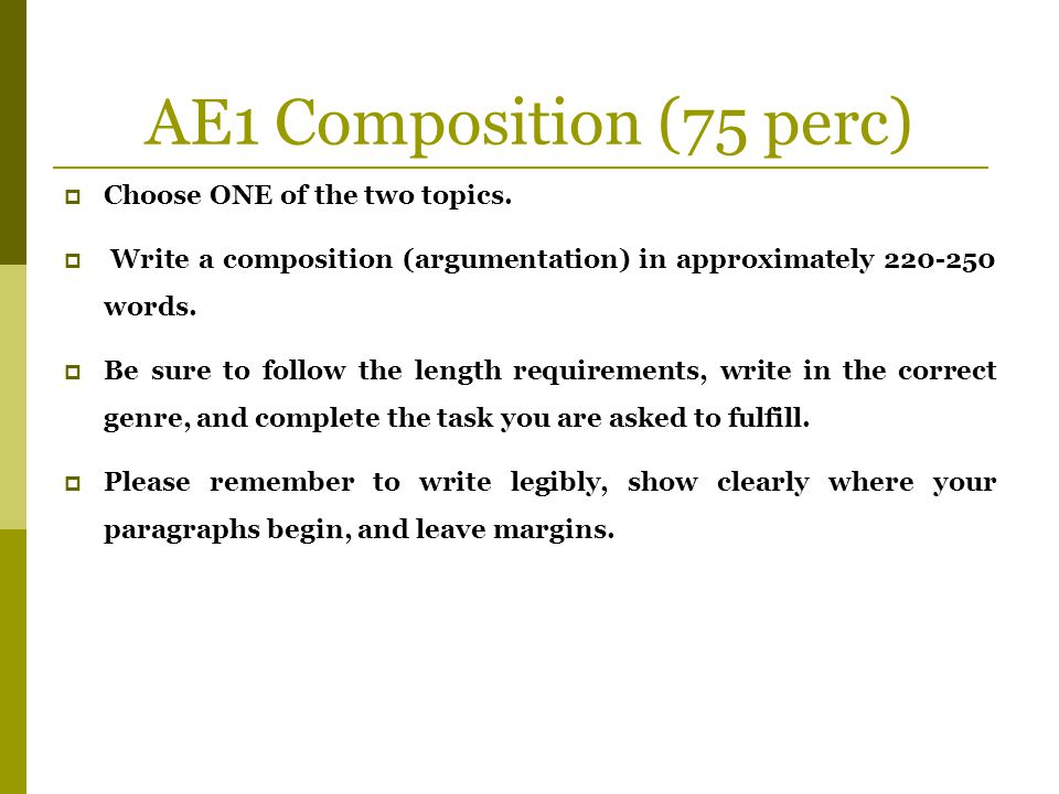AE1 Composition (75 perc) Choose ONE of the two topics.