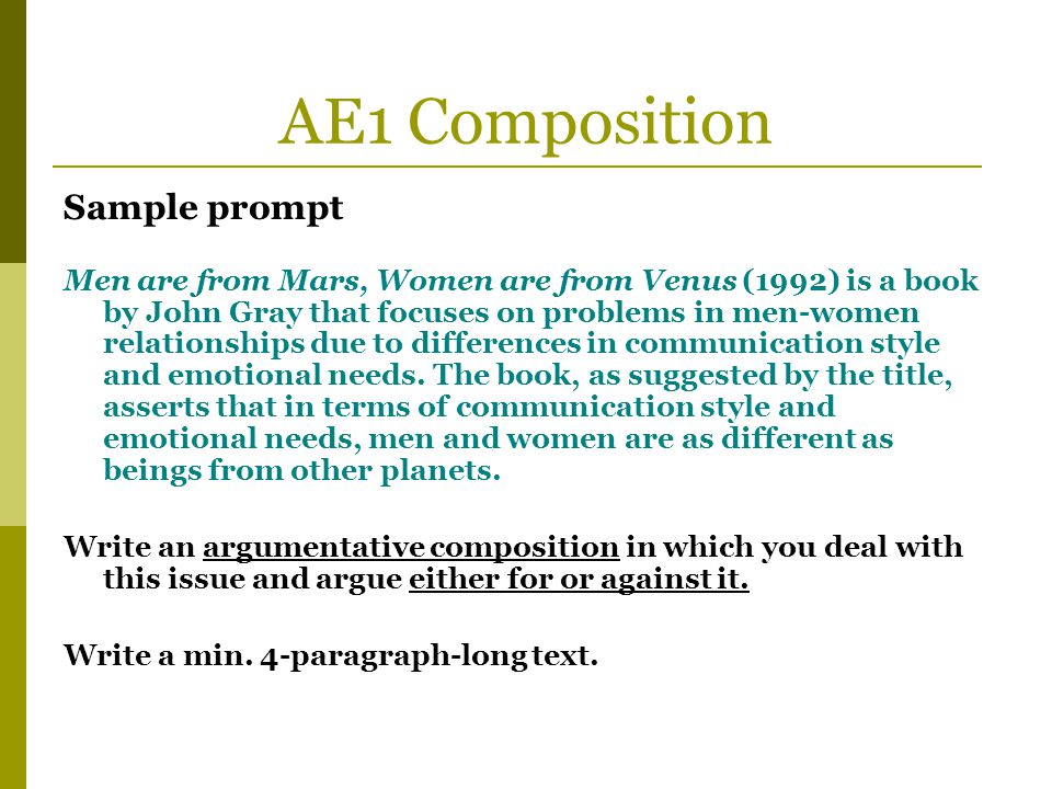 AE1 Composition Sample prompt