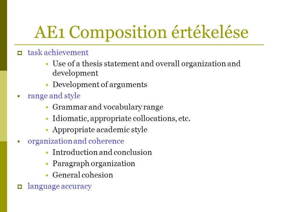 AE1 Composition értékelése