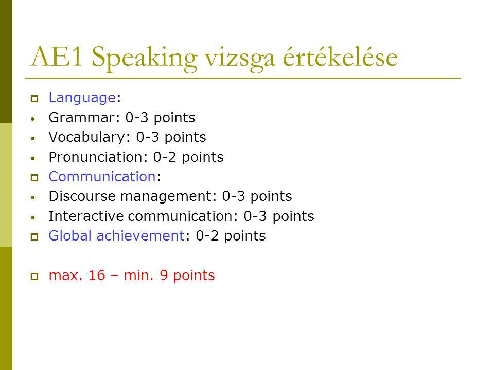 AE1 Speaking vizsga értékelése