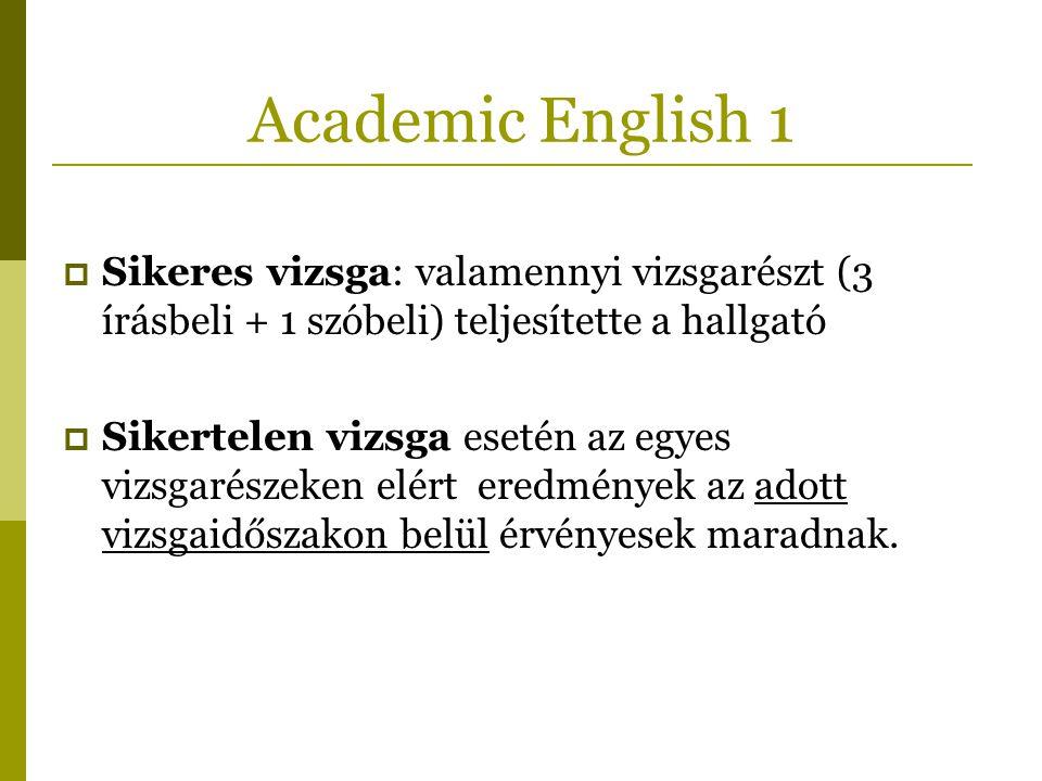 Academic English 1 Sikeres vizsga: valamennyi vizsgarészt (3 írásbeli + 1 szóbeli) teljesítette a hallgató.