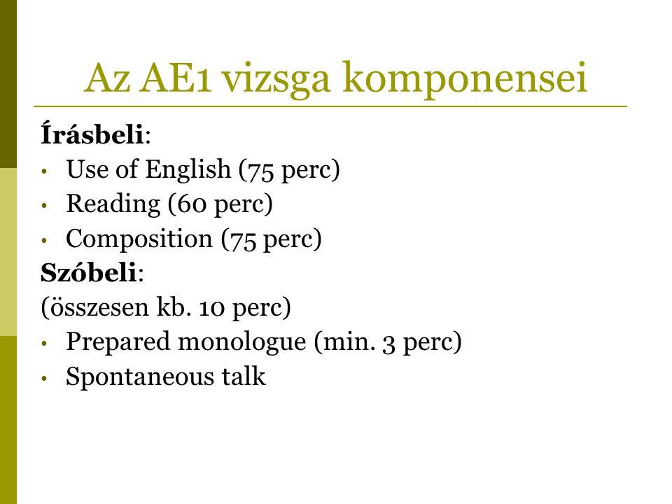 Az AE1 vizsga komponensei