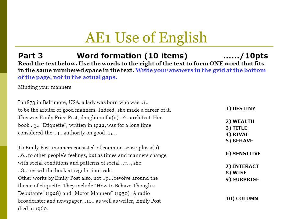 AE1 Use of English
