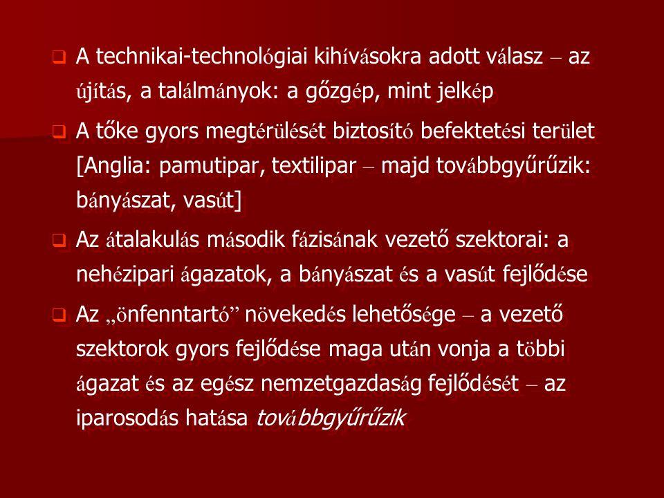 A technikai-technológiai kihívásokra adott válasz – az újítás, a találmányok: a gőzgép, mint jelkép