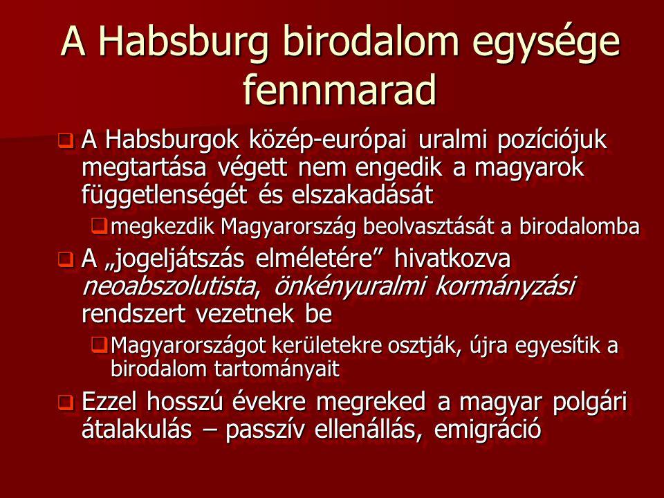 A Habsburg birodalom egysége fennmarad