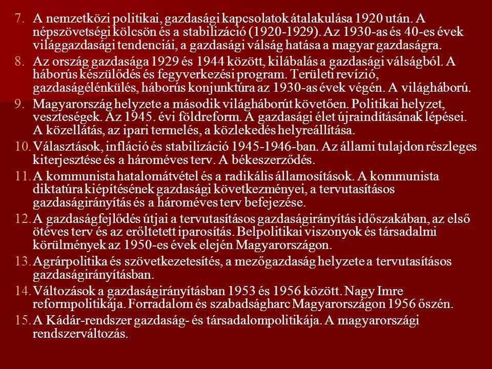 A nemzetközi politikai, gazdasági kapcsolatok átalakulása 1920 után