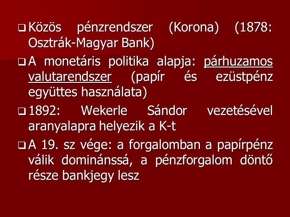 Közös pénzrendszer (Korona) (1878: Osztrák-Magyar Bank)