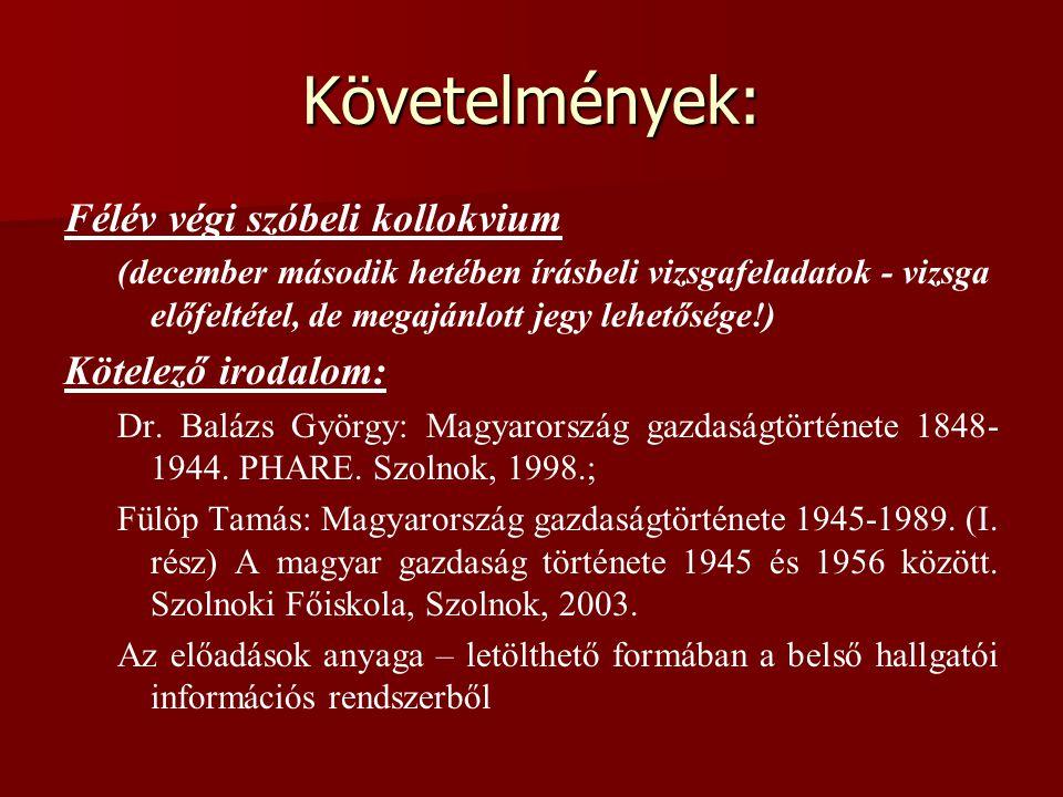 Követelmények: Félév végi szóbeli kollokvium Kötelező irodalom: