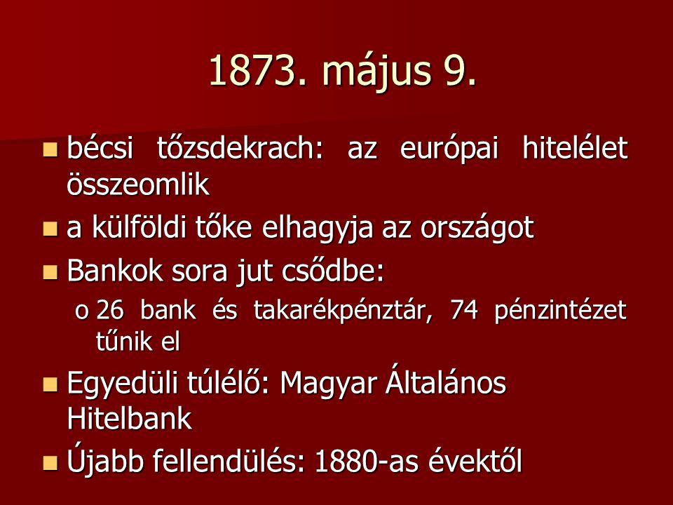 1873. május 9. bécsi tőzsdekrach: az európai hitelélet összeomlik