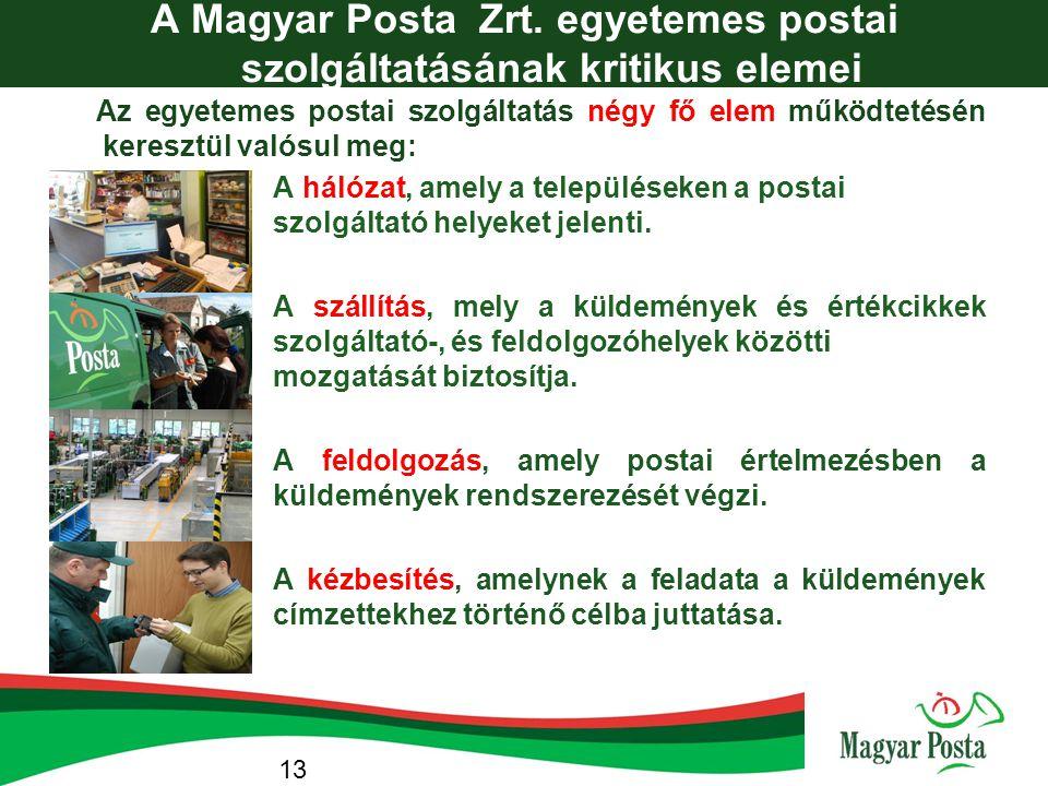 A Magyar Posta Zrt. egyetemes postai szolgáltatásának kritikus elemei