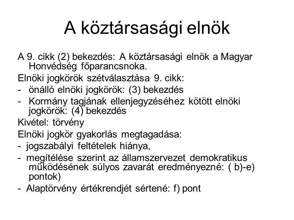 A köztársasági elnök A 9. cikk (2) bekezdés: A köztársasági elnök a Magyar Honvédség főparancsnoka.