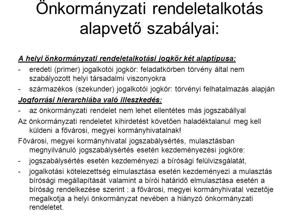 Önkormányzati rendeletalkotás alapvető szabályai: