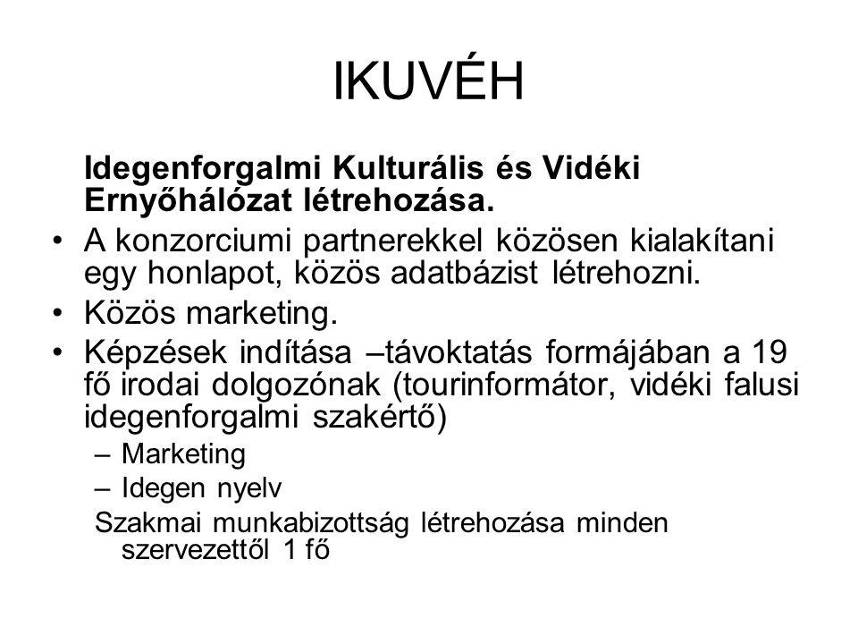 IKUVÉH Idegenforgalmi Kulturális és Vidéki Ernyőhálózat létrehozása.