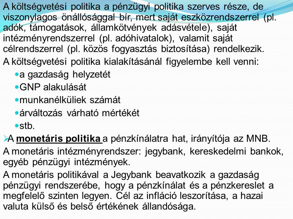 A költségvetési politika a pénzügyi politika szerves része, de viszonylagos önállósággal bír, mert saját eszközrendszerrel (pl. adók, támogatások, államkötvények adásvétele), saját intézményrendszerrel (pl. adóhivatalok), valamit saját célrendszerrel (pl. közös fogyasztás biztosítása) rendelkezik.