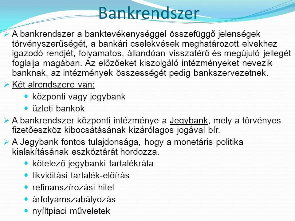 Bankrendszer