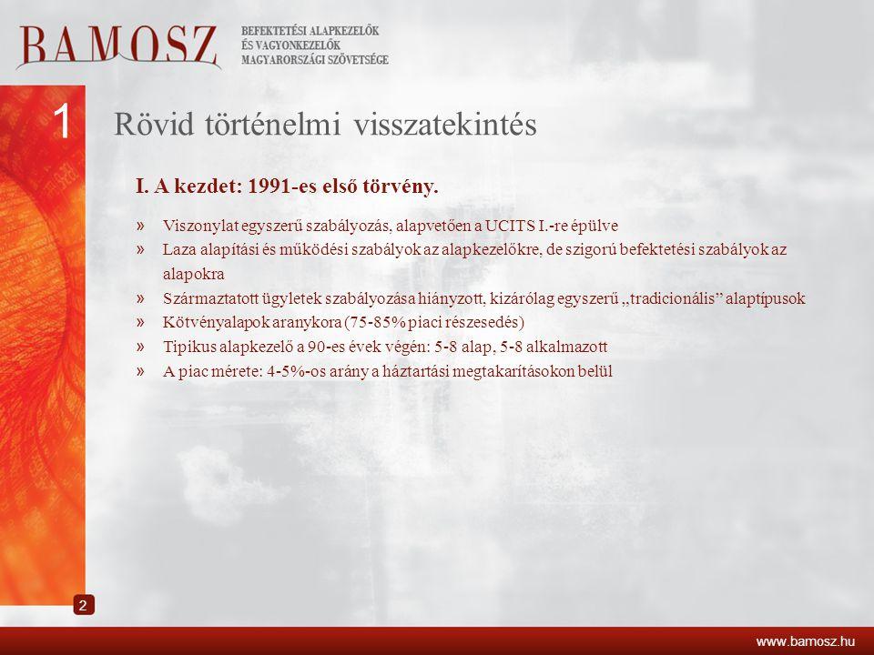 1 Rövid történelmi visszatekintés I. A kezdet: 1991-es első törvény.